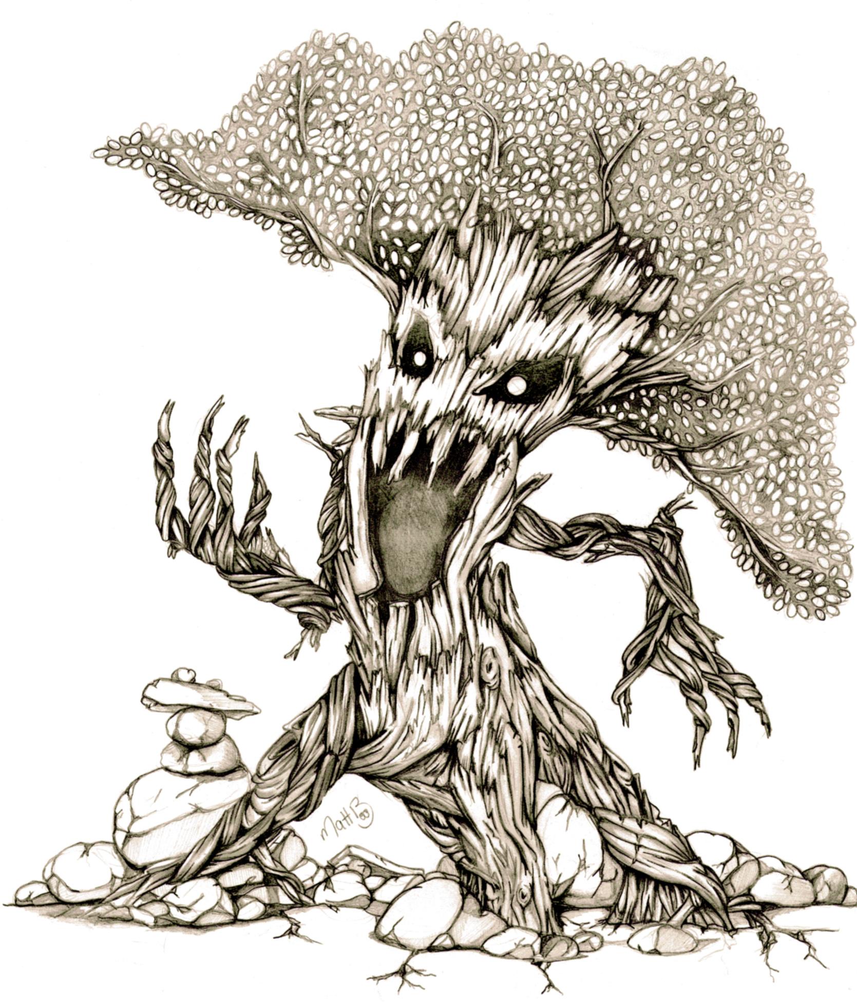 Scary Tree Pencil Sketch