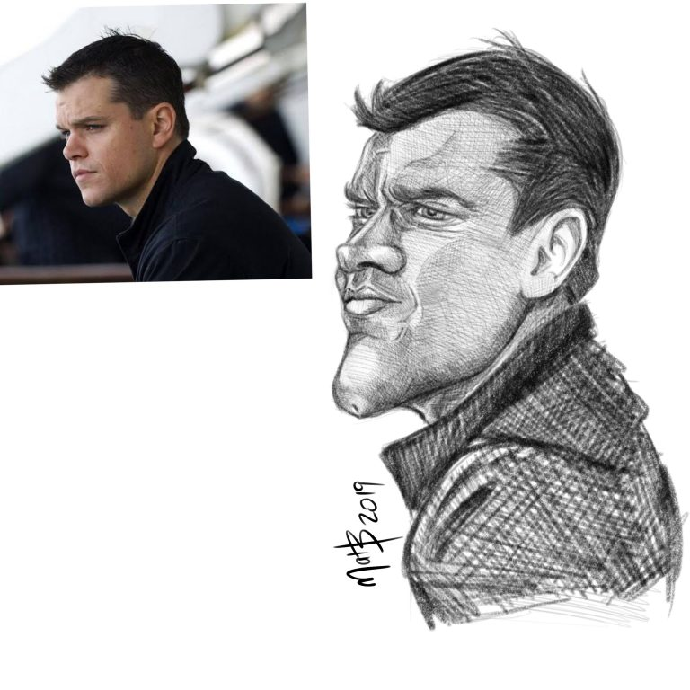 Caricature Matt Damon